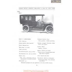 Lozier Model F Limousine Fiche Info 1907