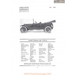Lozier Touring Car Type 82 Fiche Info 1916