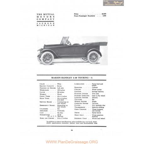Marion Handley 6 40 Touring A Fiche Info 1917