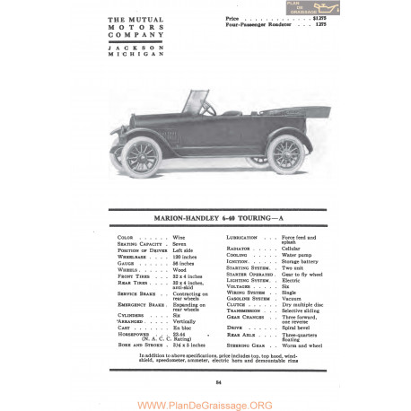 Marion Handley 6 40 Touring A Fiche Info Mc Clures 1917