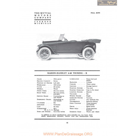 Marion Handley 6 60 Touring B Fiche Info 1917