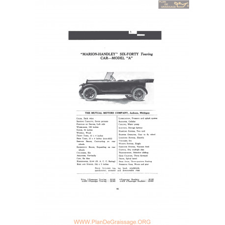 Marion Handley Six Forty Touring Car Model A Fiche Info 1916