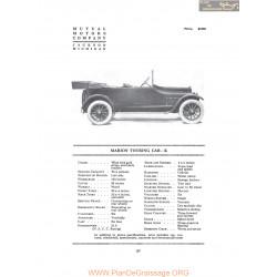 Marion Handley Touring Car K Fiche Info 1916