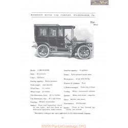 Matheson Limousine Fiche Info 1906