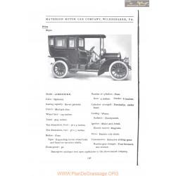 Matheson Limousine Fiche Info 1907