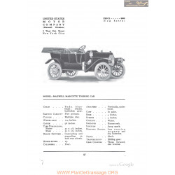 Maxwell Mascotte Touring Fiche Info 1912
