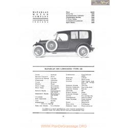 Mc Farlan Six Limousine Type 138 Fiche Info 1919