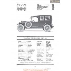Mc Farlan Six Limousine Type 138 Fiche Info 1920