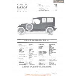 Mc Farlan Six Limousine Typr 138 Fiche Info 1918