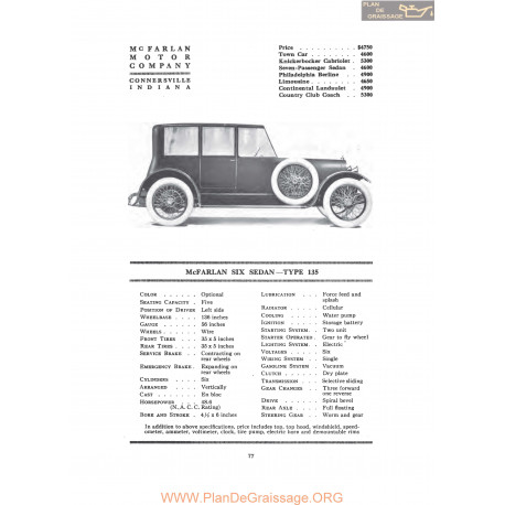 Mc Farlan Six Sedan Type 135 Fiche Info 1917