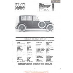 Mc Farlan Six Sedan Type 135 Fiche Info Mc Clures 1917