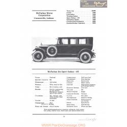 Mc Farlan Six Sport Sedan 155 Fiche Info 1922