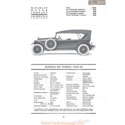 Mc Farlan Six Touring Type 125 Fiche Info 1920