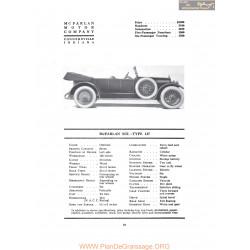 Mc Farlan Six Type 127 Fiche Info 1917