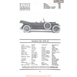 Mc Farlan Six Type 127 Fiche Info Mc Clures 1917