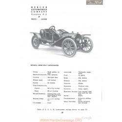 Mercer C Speedster Fiche Info 1910
