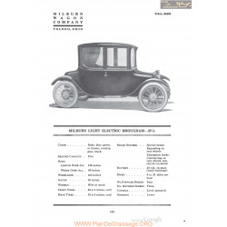 Milburn Light Electric Brougham 27 L Fiche Info 1920