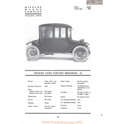 Milburn Light Electric Brugham 22 Fiche Info 1917