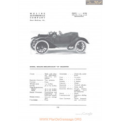 Moline Dreadnought 35 Roadster Fiche Info 1912