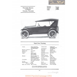 Nash Four Touring Fiche Info 1922