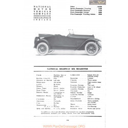 National Hightway Six Roadster Fiche Info 1917