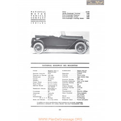 National Highway Six Roadster Fiche Info 1917