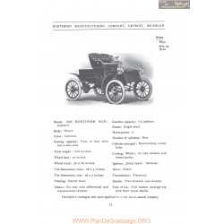 Northern 1906 Run About Fiche Info 1906