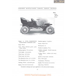 Northern Model C Five Passenger Fiche Info 1906