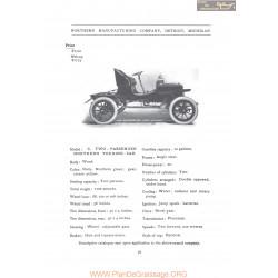 Northern Model C Two Passenger Fiche Info 1906