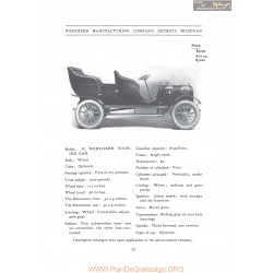 Northern Model K Touring Fiche Info 1906
