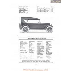 Paige Essax Touring Six 55 Fiche Info 1919