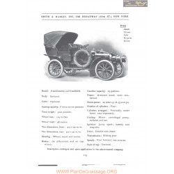 Panhard Levassor Smith & Mabley Fiche Info 1906