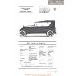 Pilot Touring Six Sixty Five Fiche Info 1922