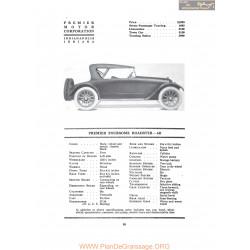 Premier Foursome Roadster 6b Fiche Info 1917