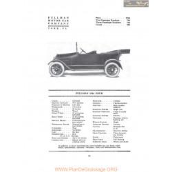 Pullman 1916 Four Fiche Info 1916