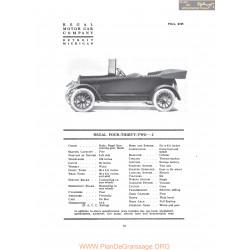 Regal Four Thirty Two J Fiche Info 1917