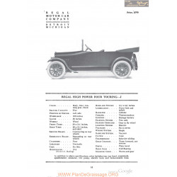 Regal High Power Four Touring J Fiche Info 1918