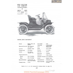 Reo G Runabout Fiche Info 1910