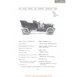 Royal Tourist G2 Fiche Info 1907