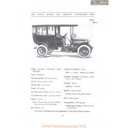 Royal Tourist Limousine Fiche Info 1907