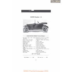 Saxon Roadster 14 Fiche Info Mc Clures 1916