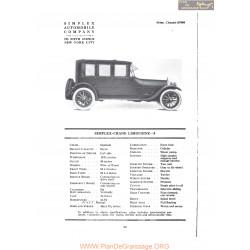 Simplex Crane Limousine 5 Fiche Info 1919