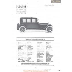 Simplex Crane Limousine 5 Fiche Info 1920