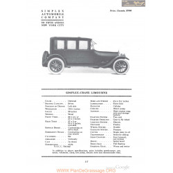 Simplex Crane Limousine Fiche Info 1918
