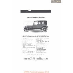 Simplex Landaulet Limousine Fiche Info 1916