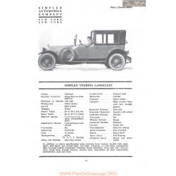Simplex Touring Landaulet Fiche Info 1917