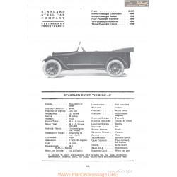 Standard Eight Touring G Fiche Info 1918