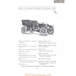 Stearns 30 Horse Power Fiche Info 1907