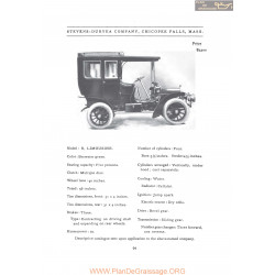 Stevens Duryea Model R Limousine Fiche Info 1907