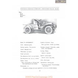 Stevens Duryea Model R Runabout Fiche Info 1907